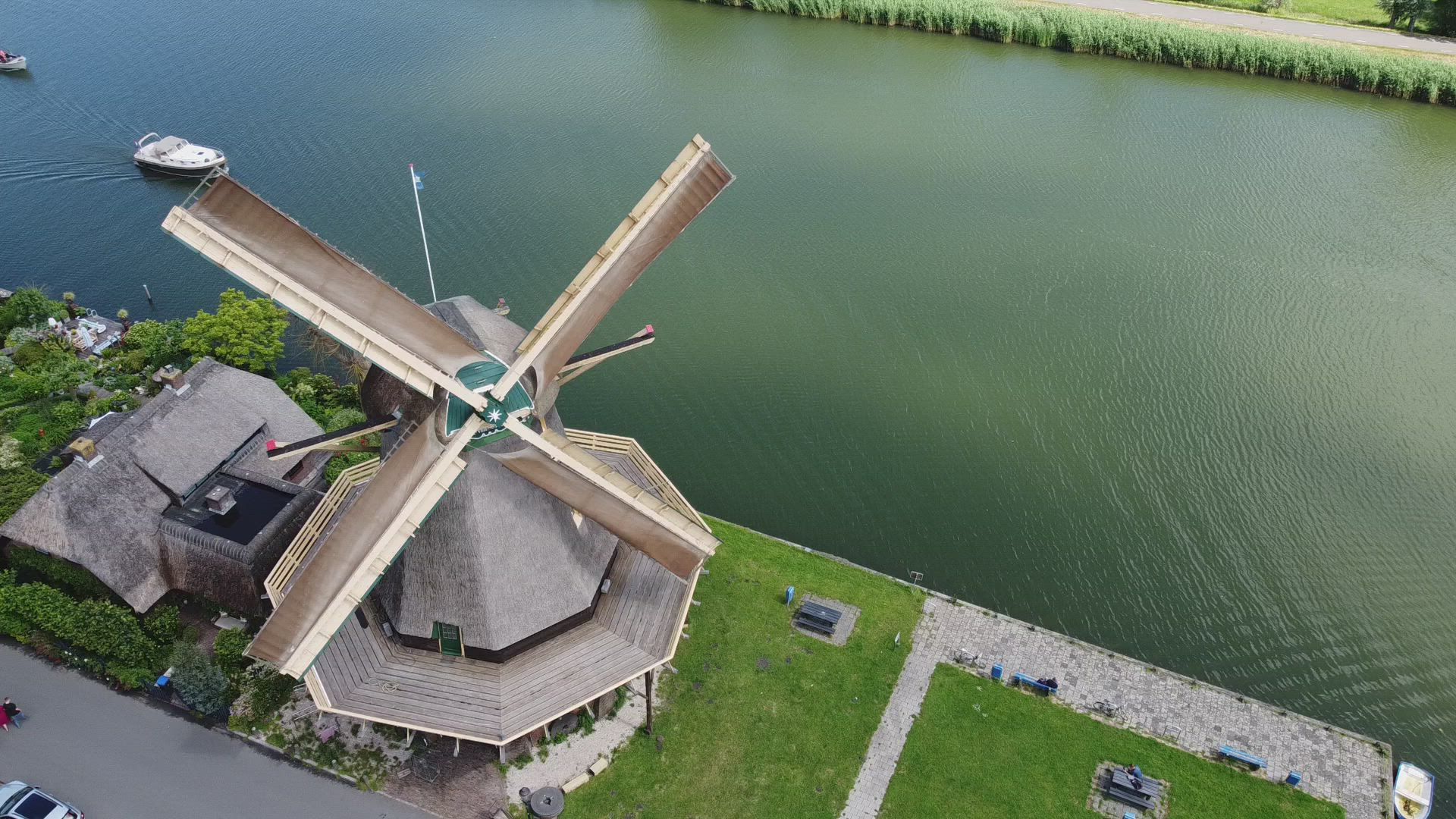Windmill and river in The Netherlands